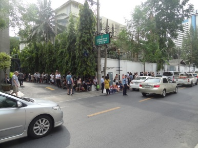 Waiting in front on the Myanmar embassy
