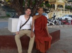 Talking to a monk in Mawlamyine