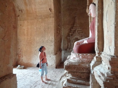 Visiting a temple in Bagan