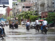 Flooded streets in Mandalay