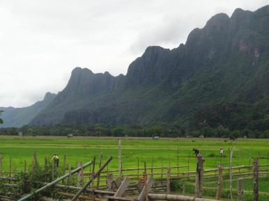Idyllic landscape in Kong Lor village