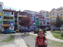Colorful painted houses in Tirana