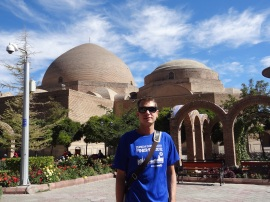 Theo in front of the Blue Mosque in Tabriz